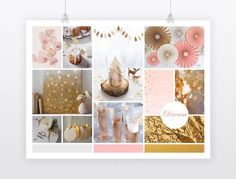 Mood board thème Noël soft et cosy