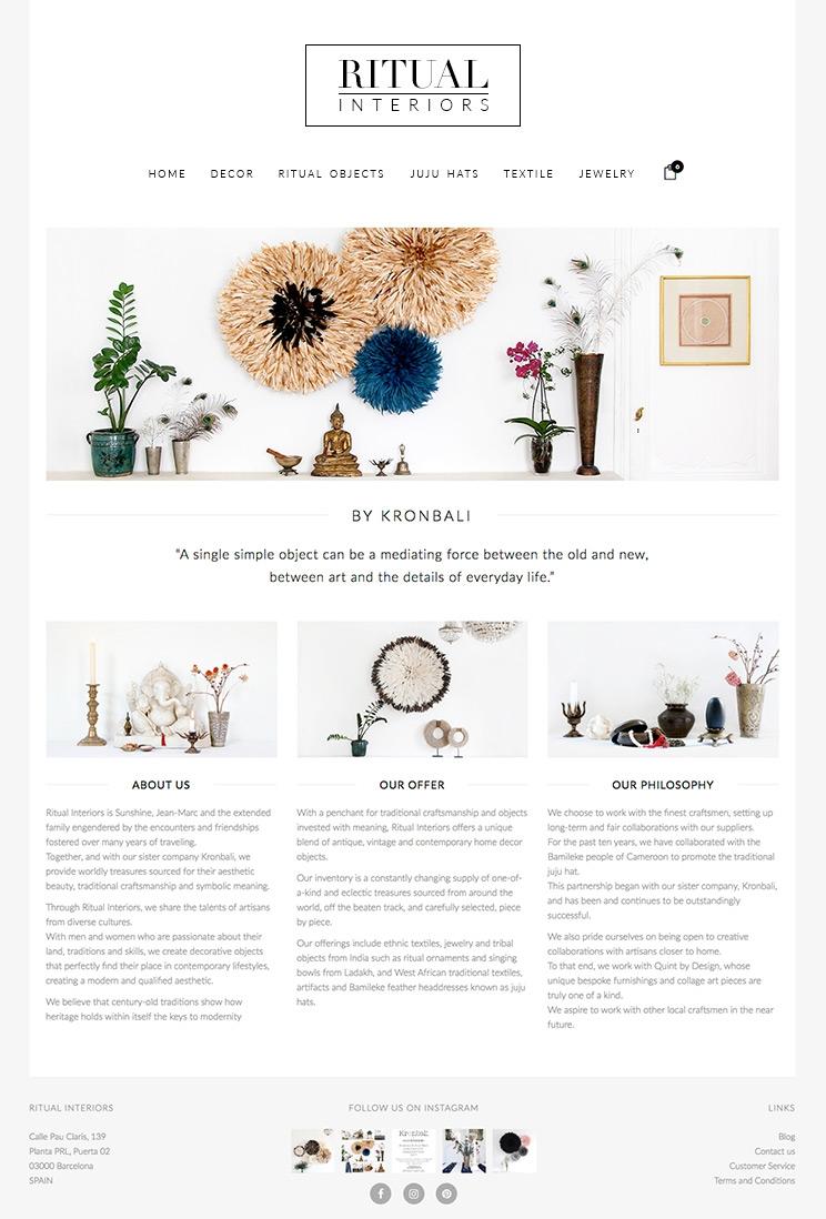 Boutique en ligne Ritual Interiors
