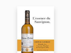 Publicité pour le Château Lafargue, vin de Pessac-Léognan