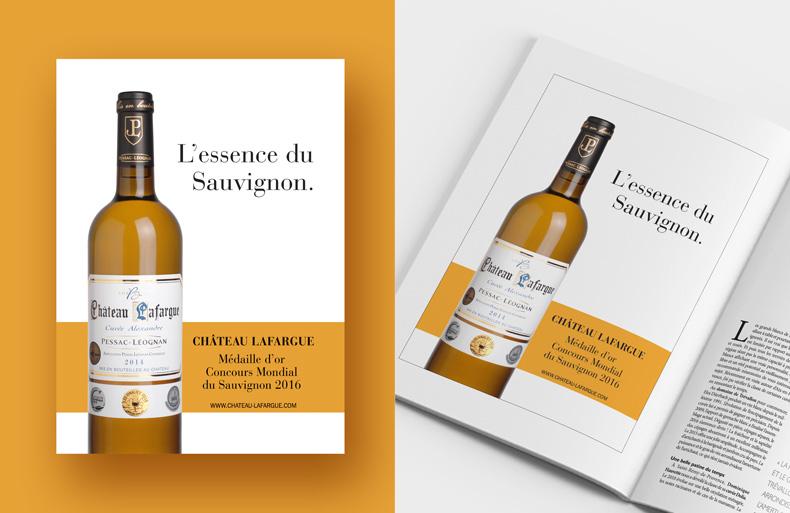 Publicité pour le Château Lafargue, page magazine