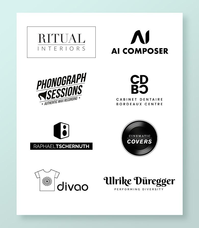 Planche de logos créés par Myriam Leymarie